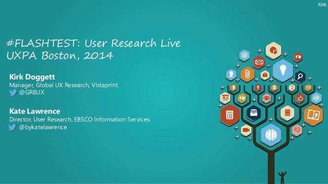 Kirk Doggett Manager, Global UX Research, Vistaprint @GR8UX #FLASHTEST: User Research Live UXPA Boston, 2014 Kate Lawrence...