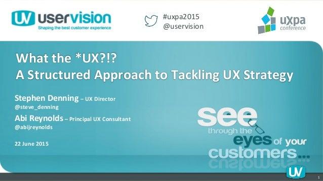 Stephen  Denning  –  UX  Director   @steve_denning       Abi  Reynolds  –  Principal  UX  Consul...