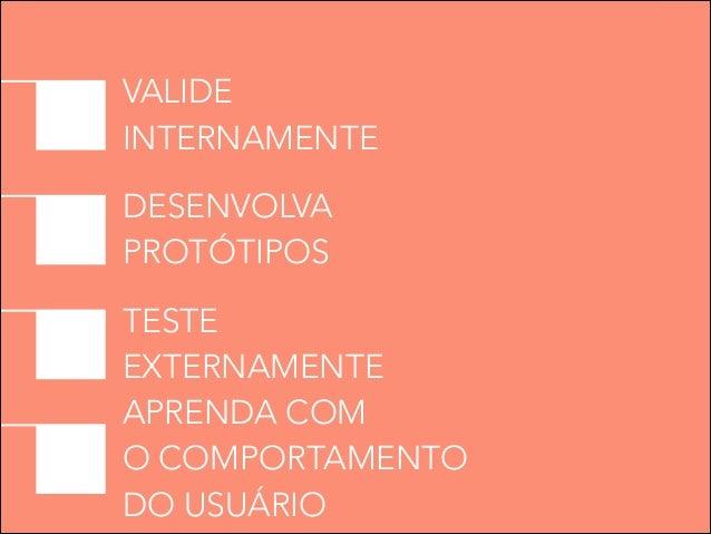 VALIDE INTERNAMENTE DESENVOLVA PROTÓTIPOS TESTE EXTERNAMENTE APRENDA COM O COMPORTAMENTO DO USUÁRIO