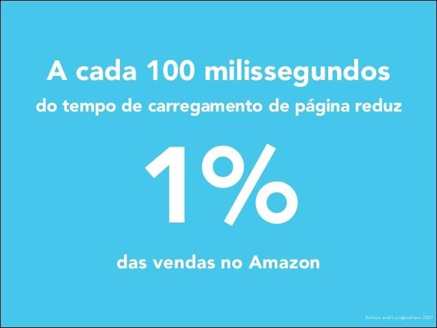A cada 100 milissegundos do tempo de carregamento de página reduz  1%  das vendas no Amazon Kohavi and Longbotham 2007