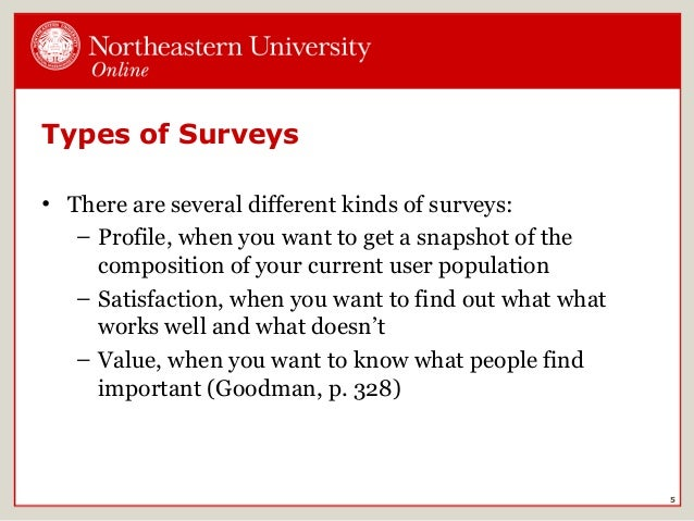 types of surveys Main page surveys represent one of the most common types of quantitative, social science research in survey research, the researcher selects a sample of respondents.