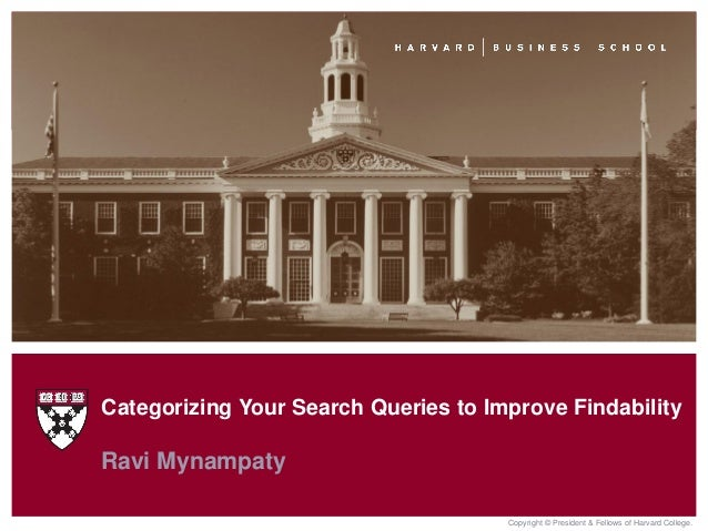 Copyright © President & Fellows of Harvard College.Ravi MynampatyCategorizing Your Search Queries to Improve Findability