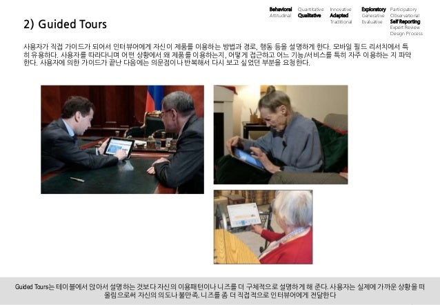 10UX 필드리서치 안내 ⓒ 2014 UX1. All rights reserved. 2) Guided Tours 사용자가 직접 가이드가 되어서 인터뷰어에게 자신이 제품를 이용하는 방법과 경로, 행동 등을 설명하게 한다....