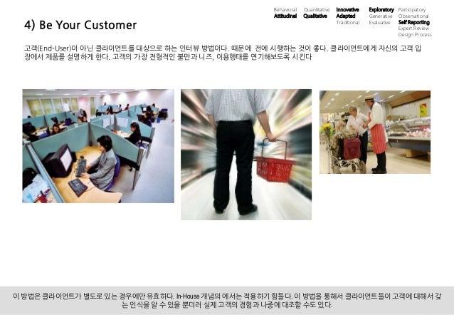 13UX 필드리서치 안내 ⓒ 2014 UX1. All rights reserved. 4) Be Your Customer 고객(End-User)이 아닌 클라이언트를 대상으로 하는 인터뷰 방법이다. 때문에 전에 시행하는 것...