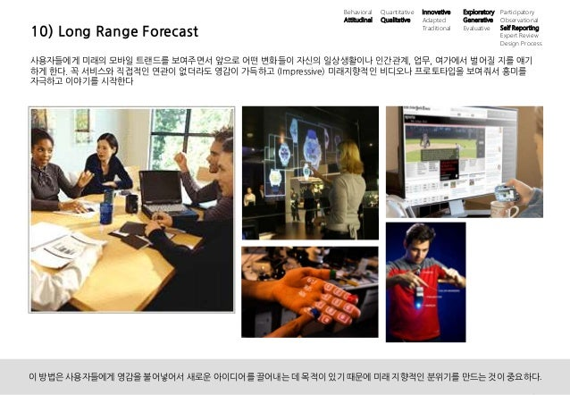 21UX 필드리서치 안내 ⓒ 2014 UX1. All rights reserved. 10) Long Range Forecast 사용자들에게 미래의 모바일 트랜드를 보여주면서 앞으로 어떤 변화들이 자신의 일상생활이나 인간...