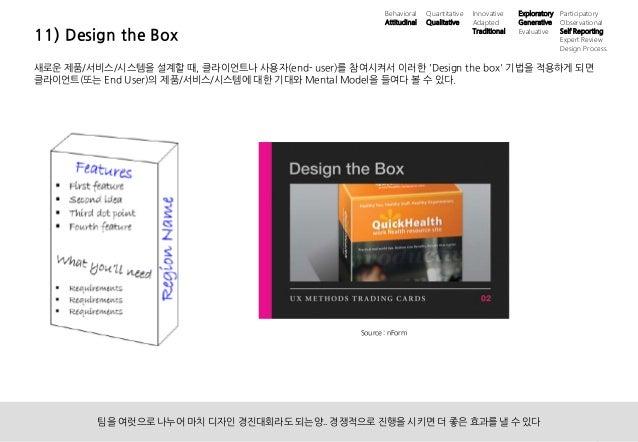 22UX 필드리서치 안내 ⓒ 2014 UX1. All rights reserved. 11) Design the Box 새로운 제품/서비스/시스템을 설계할 때, 클라이언트나 사용자(end- user)를 참여시켜서 이러한 ...
