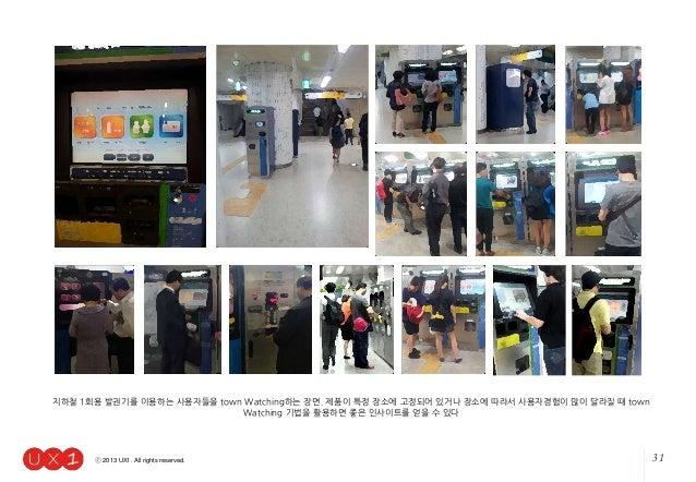 31ⓒ 2013 UX1. All rights reserved. 지하철 1회용 발권기를 이용하는 사용자들을 town Watching하는 장면. 제품이 특정 장소에 고정되어 있거나 장소에 따라서 사용자경험이 많이 달라질 때...