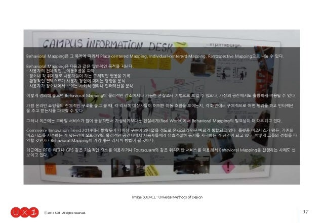 37ⓒ 2013 UX1. All rights reserved. Image SOURCE : Universal Methods of Design Behavioral Mapping은 그 목적에 따라서 Place-centered...