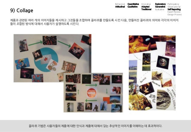 39ⓒ 2013 UX1. All rights reserved. 9) Collage 제품과 관련된 여러 개의 이미지들을 제시하고 그것들을 조합하여 꼴라쥐를 만들도록 시킨 다음, 만들어진 꼴라쥐의 의미와 각각의 이미지 들이...