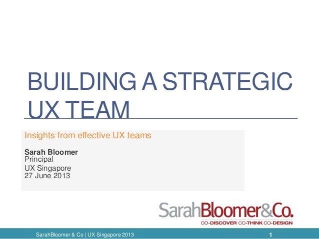BUILDING A STRATEGIC UX TEAM Insights from effective UX teams Sarah Bloomer Principal UX Singapore 27 June 2013 1SarahBloo...