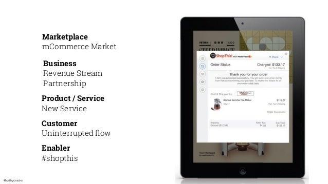 @cathycracks Marketplace mCommerce Market Business Revenue Stream Partnership Product / Service New Service Customer Unint...