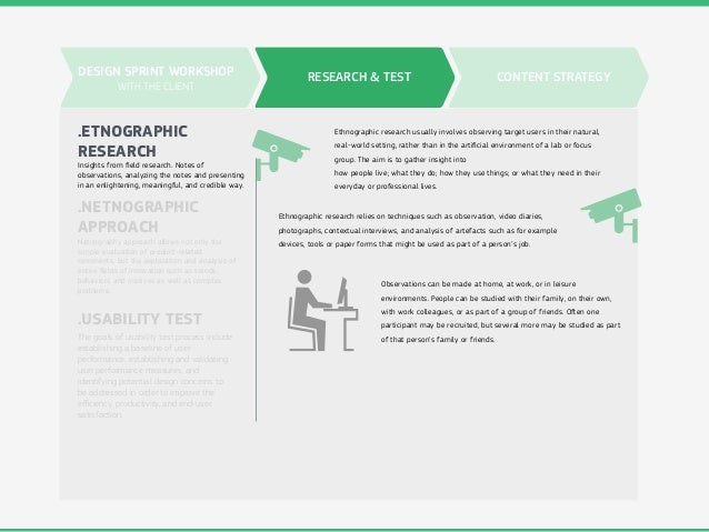 RESEARCH & TEST .ETNOGRAPHIC RESEARCH .USABILITY TEST .NETNOGRAPHIC APPROACH Insights from field research. Notes of observa...