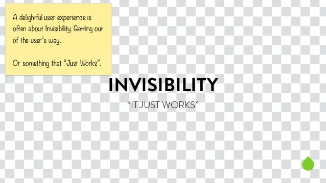 """INVISIBILITY  """"IT JUST WORKS""""  A delightful user experience is  often about Invisibility. Getting out  of the user's way. ..."""