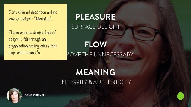 PLEASURE  SURFACE DELIGHT  !  FLOW  REMOVE THE UNNECESSARY  !  MEANING  INTEGRITY & AUTHENTICITY  Dana Chisnell describes ...