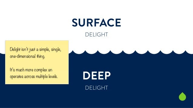 SURFACE  DELIGHT  DEEP  DELIGHT  Delight isn't just a simple, single,  one-dimensional thing.  It's much more complex an  ...