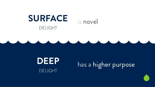 SURFACE  DELIGHT  DEEP  DELIGHT  is novel  has a higher purpose