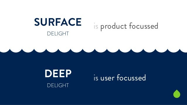 SURFACE  DELIGHT  DEEP  DELIGHT  is product focussed  is user focussed