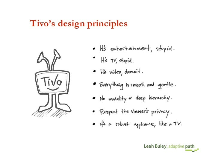 Tivo's design principles                                Leah Buley,