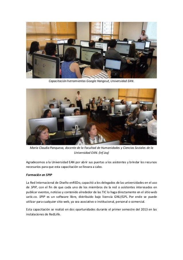 Capacitación herramientas Google Hangout, Universidad EAN.  María Claudia Panqueva, docente de la Facultad de Humanidades ...