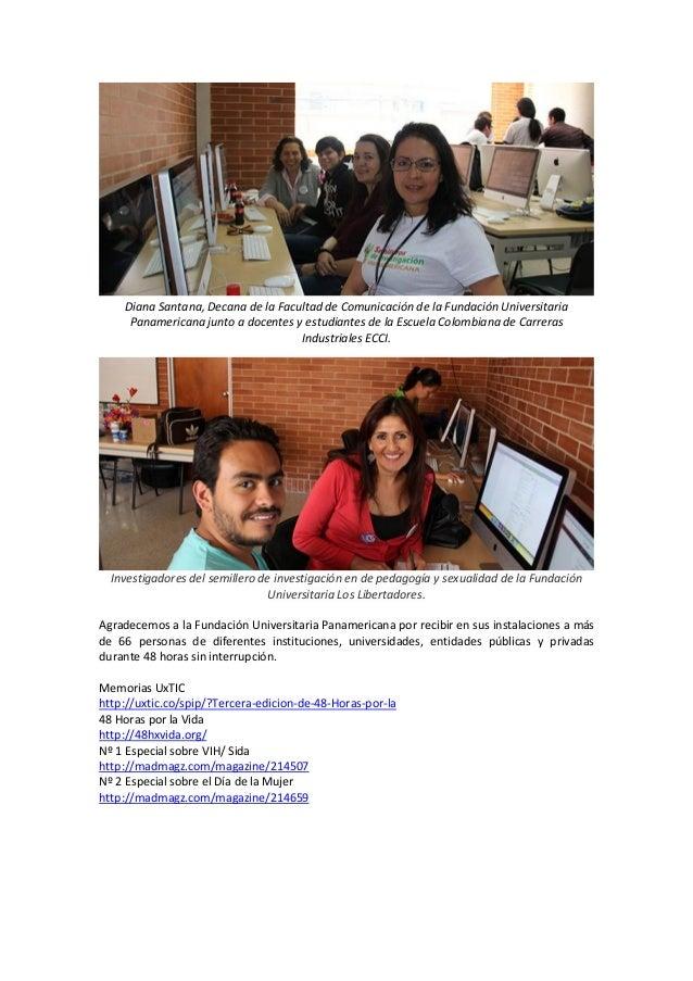 Diana Santana, Decana de la Facultad de Comunicación de la Fundación Universitaria Panamericana junto a docentes y estudia...