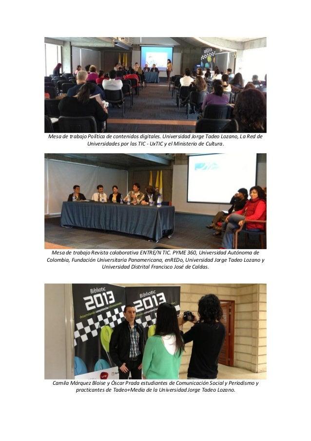 Mesa de trabajo Política de contenidos digitales. Universidad Jorge Tadeo Lozano, La Red de Universidades por las TIC - Ux...