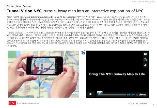 17  UX Trend Report 2014년 상반기  ⓒ 2014 RightBrain. All rights reserved.  New York대 Interactive Telecommunications Program 중...