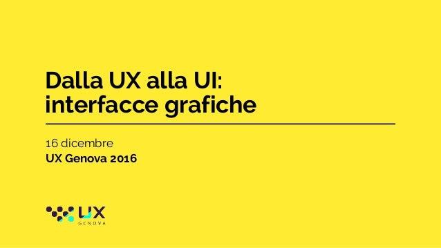 Dalla UX alla UI: interfacce grafiche 16 dicembre UX Genova 2016