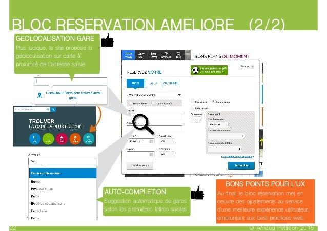 © Arnaud Petitbon 201522 BLOC RESERVATION AMELIORE (2/2) AUTO-COMPLETION Suggestion automatique de gares selon les premièr...