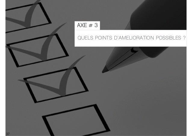 37 QUELS POINTS D'AMELIORATION POSSIBLES ? AXE # 3