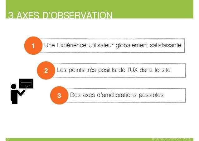 3 AXES D'OBSERVATION © Arnaud Petitbon 20155 1 Une Expérience Utilisateur globalement satisfaisante 2 Les points très posi...