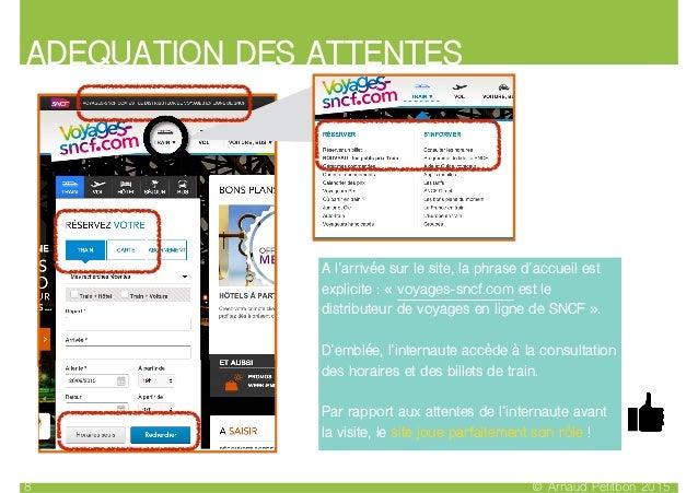 ADEQUATION DES ATTENTES © Arnaud Petitbon 20158 A l'arrivée sur le site, la phrase d'accueil est explicite : « voyages-snc...