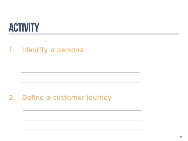 Activity1. Identify a persona  2. Define a customer journey                                34