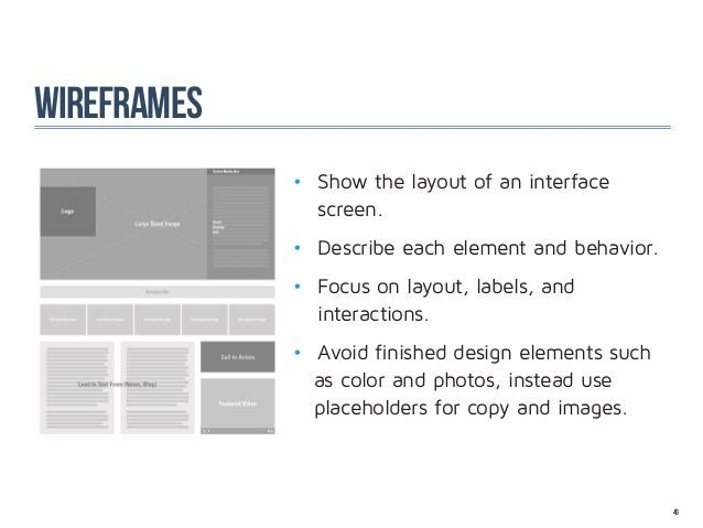 wireframes             • Show the layout of an interface              screen.             • Describe each element an...