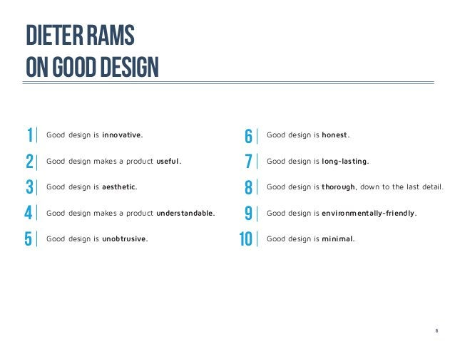 DIETER RaMSON GOOD DESIGN1   Good design is innovative.                                                   6   Good design ...