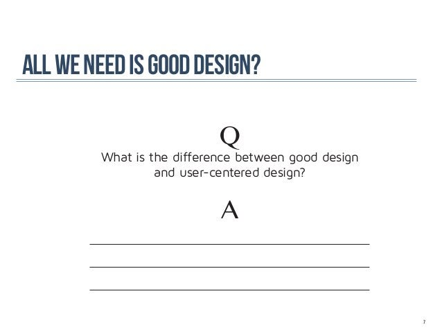 all we need is good design?                           Q        What is the difference between good design                 ...