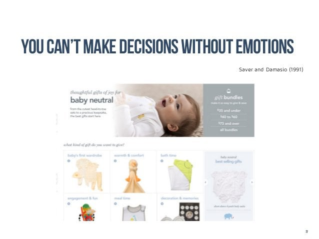 You can't make decisions without EMOTions                                Saver and Damasio (1991)                         ...