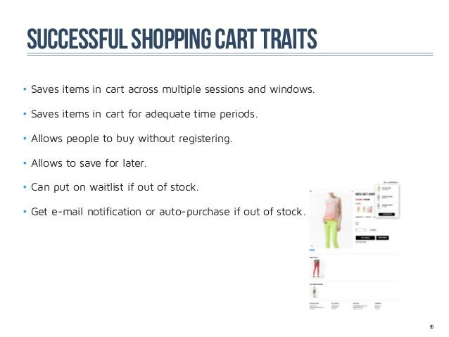successful shopping cart traits•Saves items in cart across multiple sessions and windows.•Saves items in cart for adequa...