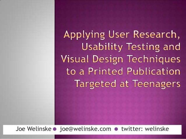 Joe Welinske joe@welinske.com  twitter: welinske