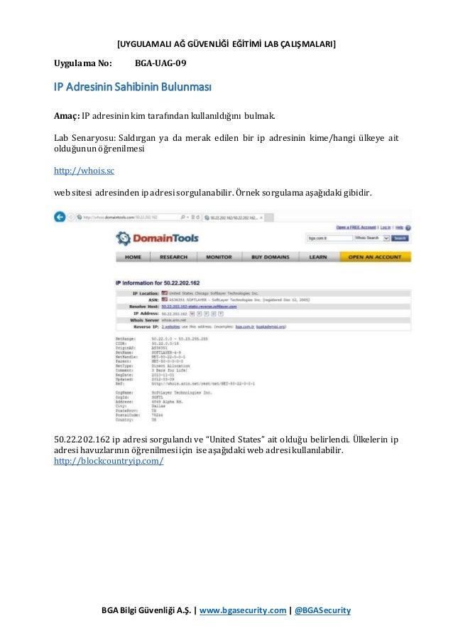 [UYGULAMALI AĞ GÜVENLİĞİ EĞİTİMİ LAB ÇALIŞMALARI] BGA Bilgi Güvenliği A.Ş. | www.bgasecurity.com | @BGASecurity Uygulama N...