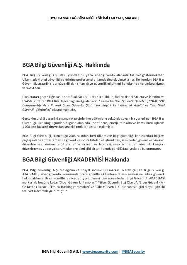 [UYGULAMALI AĞ GÜVENLİĞİ EĞİTİMİ LAB ÇALIŞMALARI] BGA Bilgi Güvenliği A.Ş. | www.bgasecurity.com | @BGASecurity BGA Bilgi ...