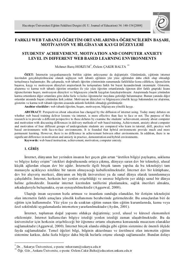 Hacettepe Üniversitesi Eğitim Fakültesi Dergisi (H. U. Journal of Education) 34: 140-154 [2008]FARKLI WEB TABANLI ÖĞRETİM ...