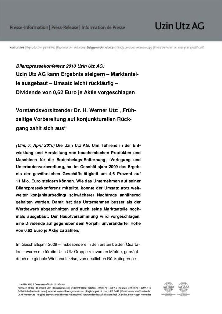 Bilanzpressekonferenz 2010 Uzin Utz AG:Uzin Utz AG kann Ergebnis steigern – Marktantei-le ausgebaut – Umsatz leicht rücklä...