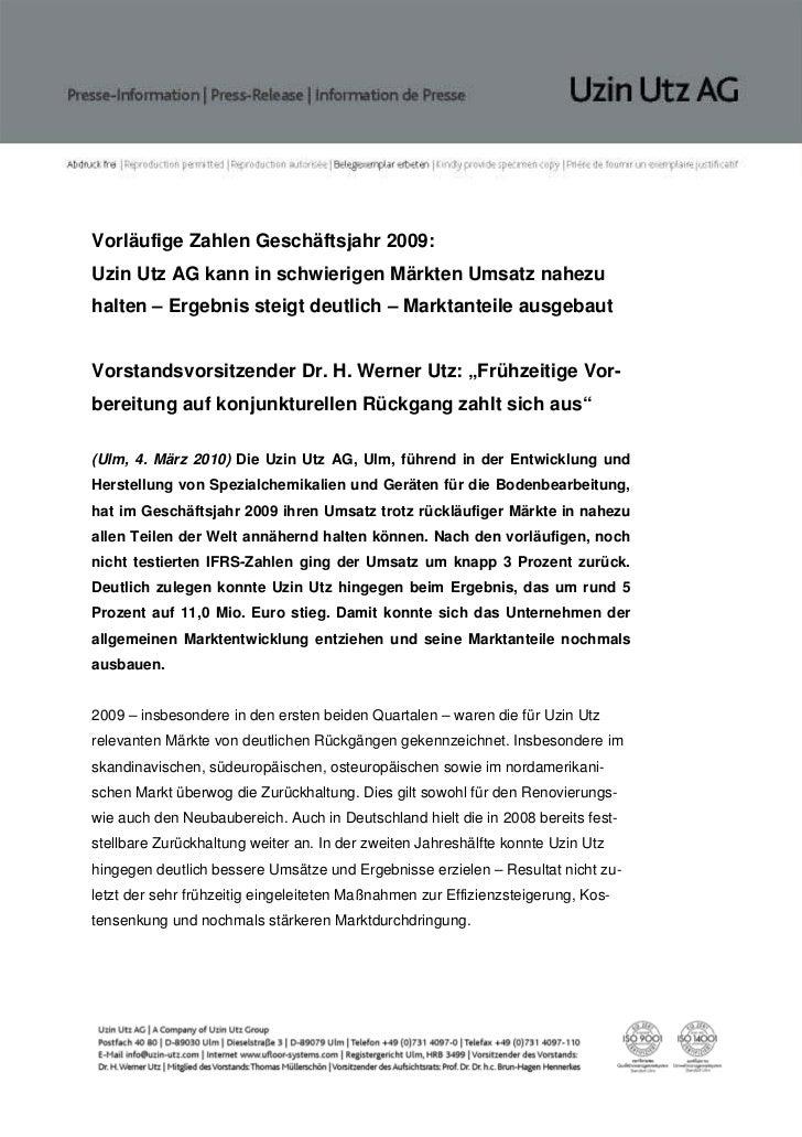 Vorläufige Zahlen Geschäftsjahr 2009:Uzin Utz AG kann in schwierigen Märkten Umsatz nahezuhalten – Ergebnis steigt deutlic...