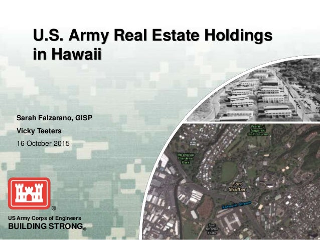 US Army Corps of Engineers BUILDING STRONG® Sarah Falzarano, GISP Vicky Teeters 16 October 2015 U.S. Army Real Estate Hold...