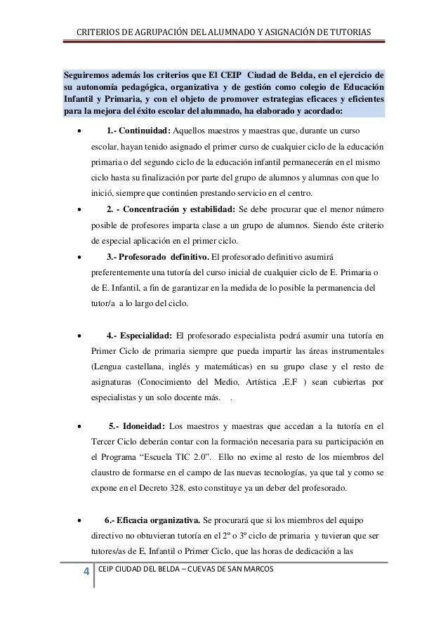 CRITERIOS DE AGRUPACIÓN DEL ALUMNADO Y ASIGNACIÓN DE TUTORIAS  Seguiremos además los criterios que El CEIP Ciudad de Belda...