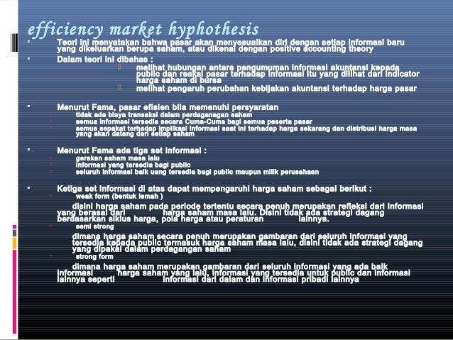 efficient market hyphothesis Efficient market hypothesis is an application of rational expectations theory where people who enter the market use available information to make decisions.