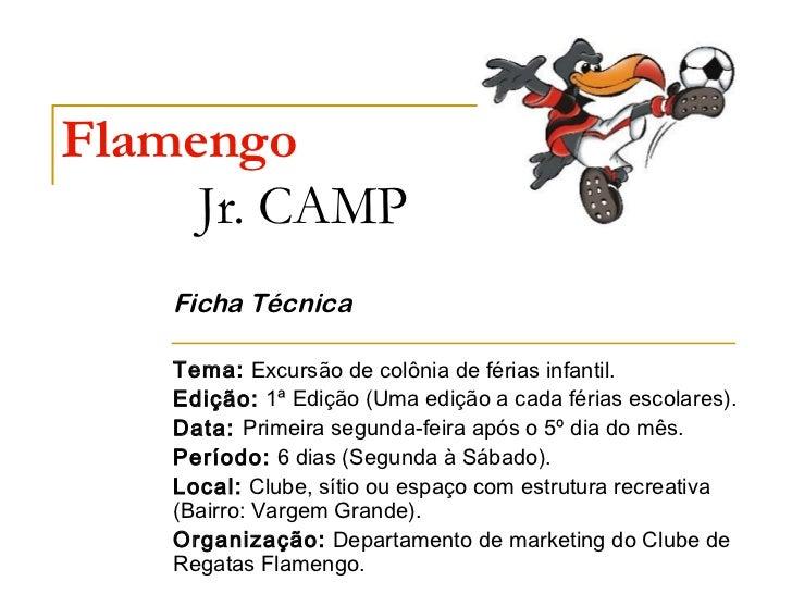 Flamengo     Jr. CAMP    Ficha Técnica    Tema: Excursão de colônia de férias infantil.    Edição: 1ª Edição (Uma edição a...