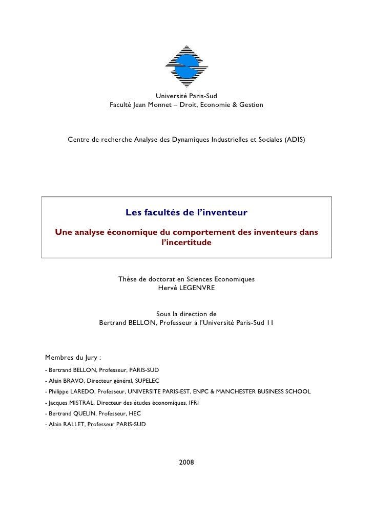 Université Paris-Sud                        Faculté Jean Monnet – Droit, Economie & Gestion            Centre de recherche...