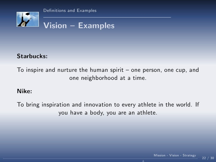 Mission, Vision and Strategy in organisations