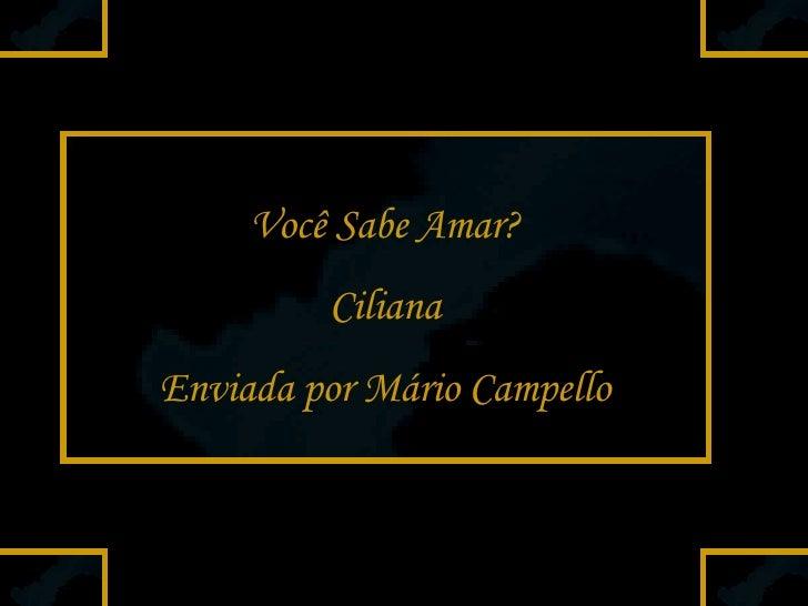 Você Sabe Amar? Ciliana Enviada por Mário Campello